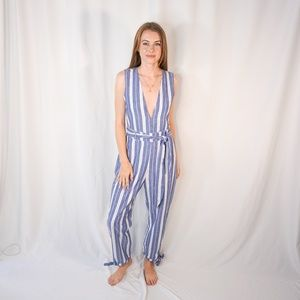 TULAROSA Reese Jumpsuit Blue White Striped Tie 937